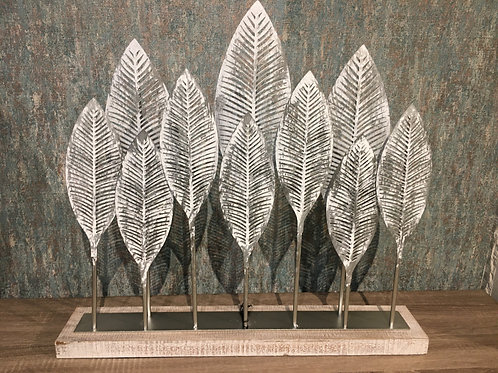 Grey metal leaves