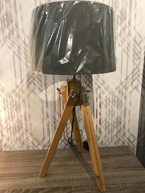 Wooden tripod lamp
