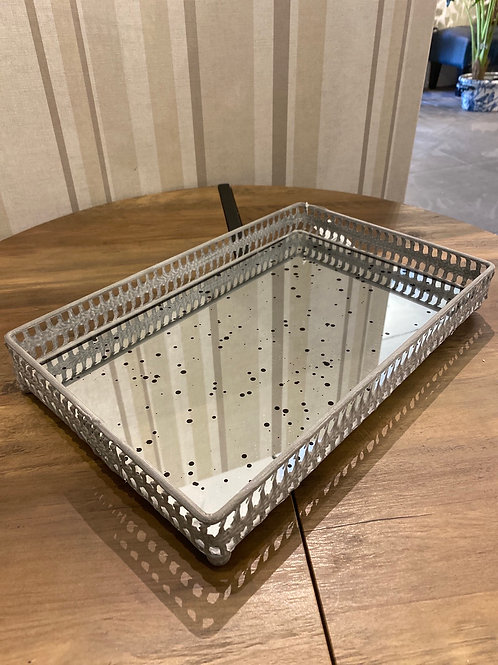 Large Grey filigree tray with distressed mirror inlay