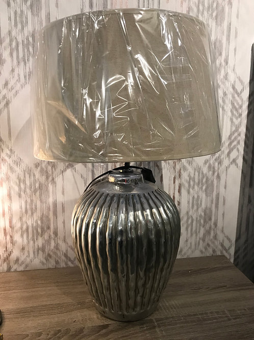 Ribbed silver lamp