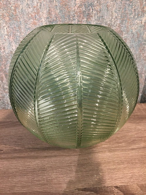Round green glass vase
