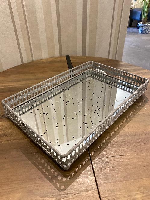 Medium Grey filigree tray with distressed mirror inlay