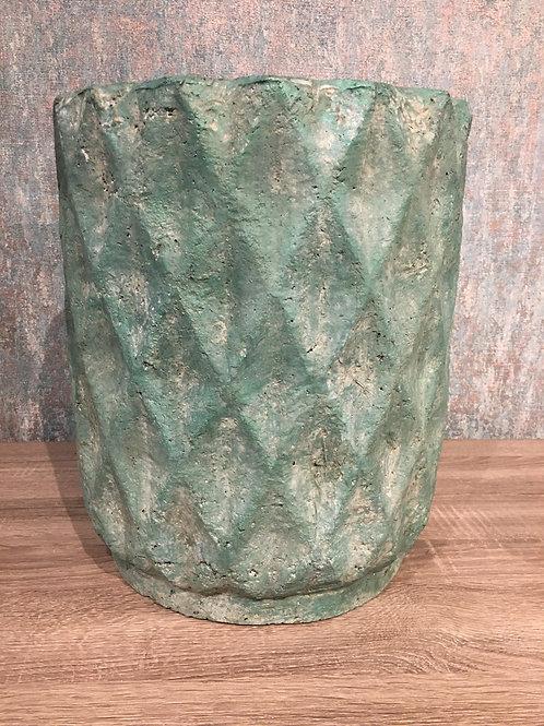 Green distressed pot