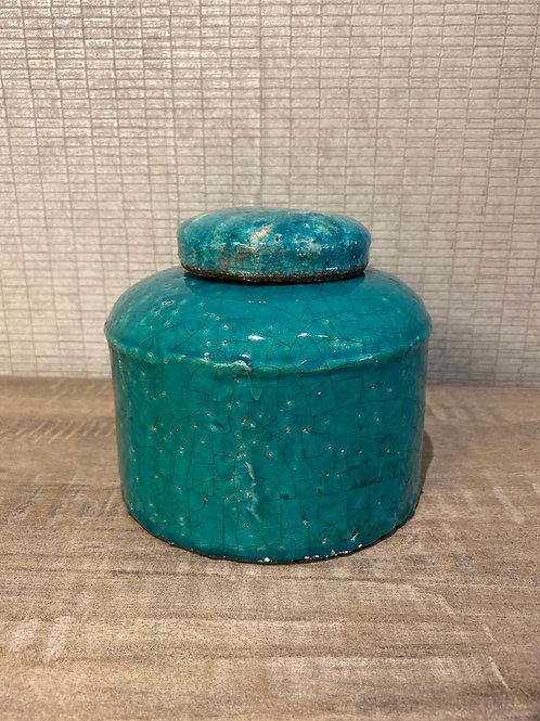 Teal stone jar small