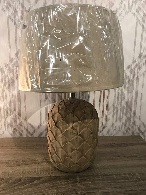 Carved wooden lamp
