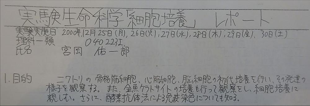 当時のレポート(当時は講義も日本語でした)/ My report (the class was in Japanese at that time)
