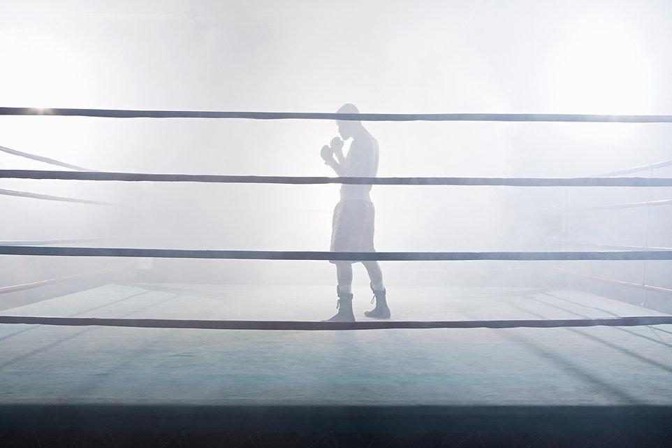 No ringue de boxe