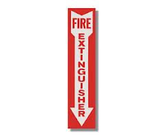 Fire Extinguisher Arrow Down Sign