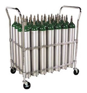 E Cylinder Cart, Capacity 28, 4 casters