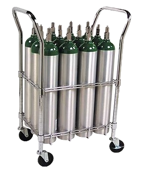 Trimedco Cylinder Cart 12 E Cylinders Chrome