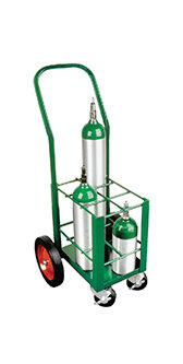 E Cylinder Cart, capacity 6, 4 casters