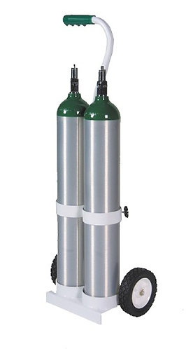 MRI Compatible Dual E Cylinder Cart, holds 2 E