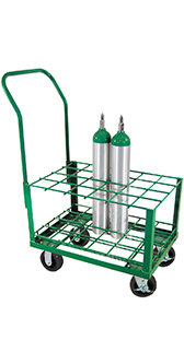 E Cylinder Cart, capacity 24, 4 casters