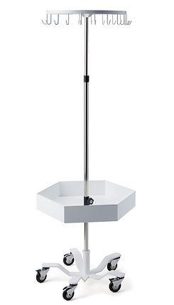 trimedco leuko stand 20 hooks with bin tray