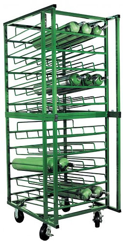 Mobile E Cylinder Rack, capacity 50, 4 casters