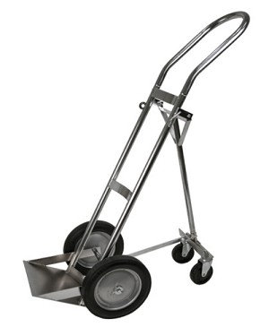 Large H Cylinder Cart, 4 wheels with folding leg, single H
