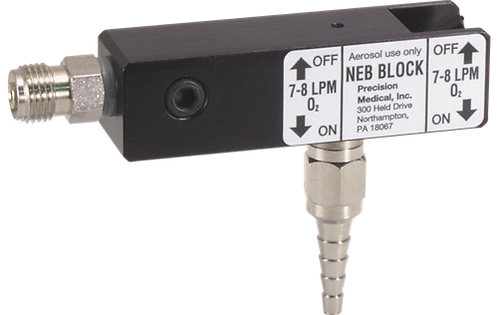 Neb Block, Flow Barb 10-11 L/min, No Adaptor (1/8 NPTF)