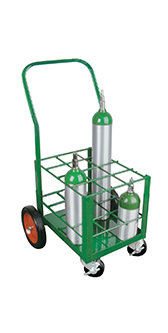 E Cylinder Cart, capacity 12, 4 casters
