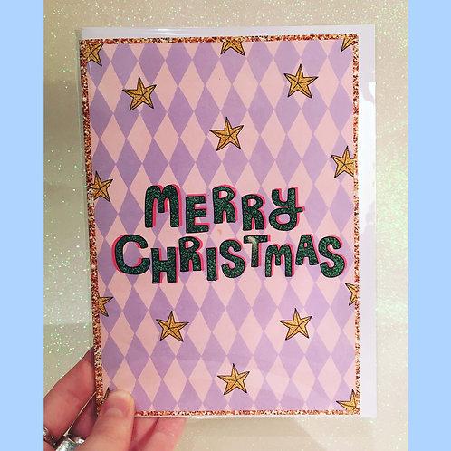 Merry Christmas - Purple Diamonds