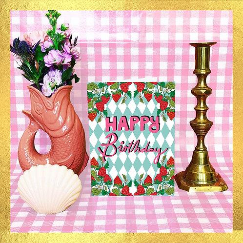 Happy Birthday -  Mint Green Check