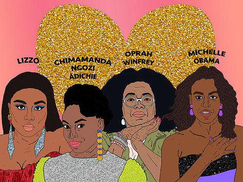Black Women Of Today, Sparkling Gold Heart & Soft Bubble Gum Pink Background
