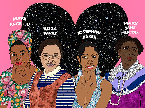 Historical Black Women, Space Heart and Tropical Pink Background