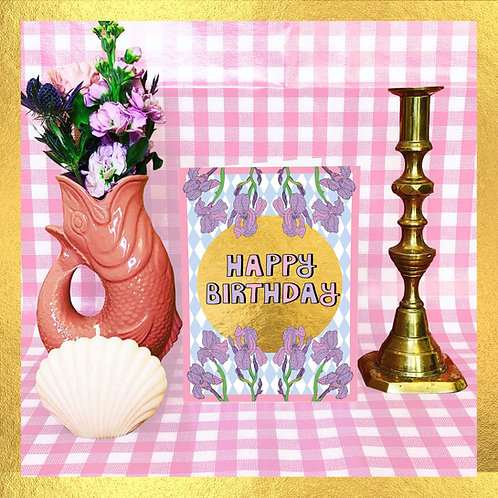 Happy Birthday Light Blue Checks & Gold Card