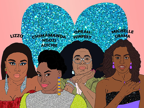 Black Women Of Today, Sparkling Blue Heart & Soft Pinky Peach Background