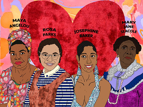 Historical Black Women, Red Velvet Heart & Marble Background