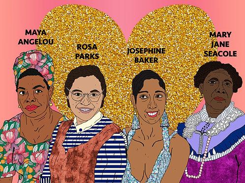 Historical Black Women,Sparkling Gold Heart & Soft Bubble Gum Pi