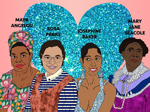 Historical Black Women,Sparkling Blue Heart & Soft Pinky Peach Backgroun