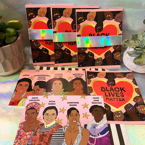 Pack Of 3 Cards Includes:(BLM,Historical Black Women, & Black Women Of Today)