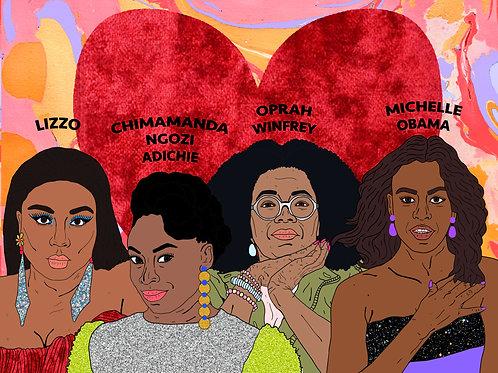 Black Women Of Today,Red Velvet Heart & Marble Background