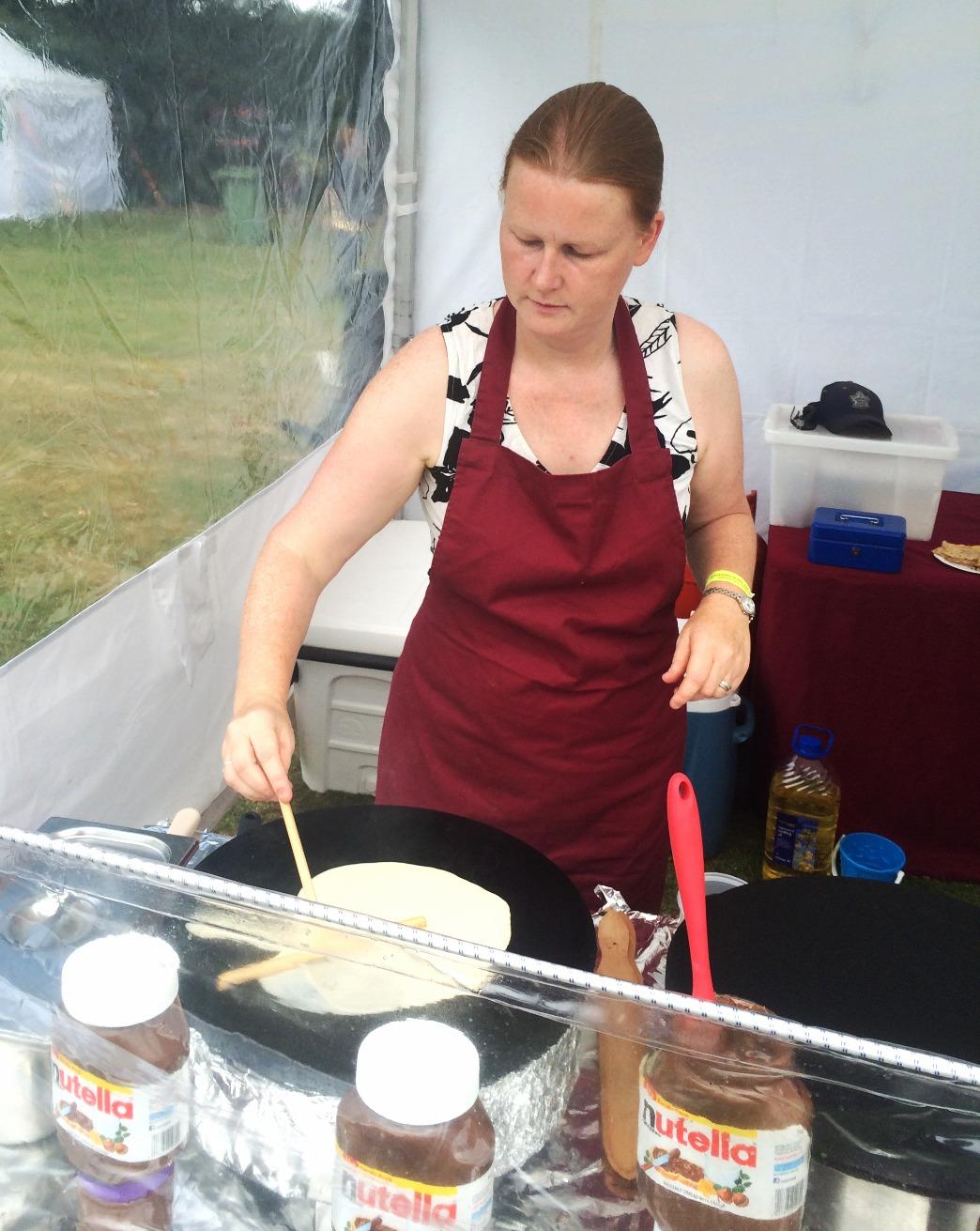 Julie making Crepes at Emsworth Show
