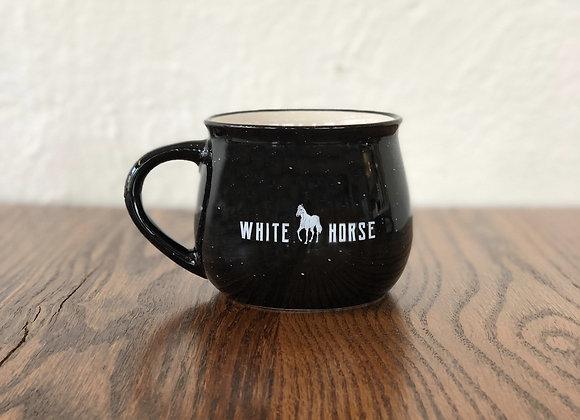 White Horse Black Ceramic Campfire Mug