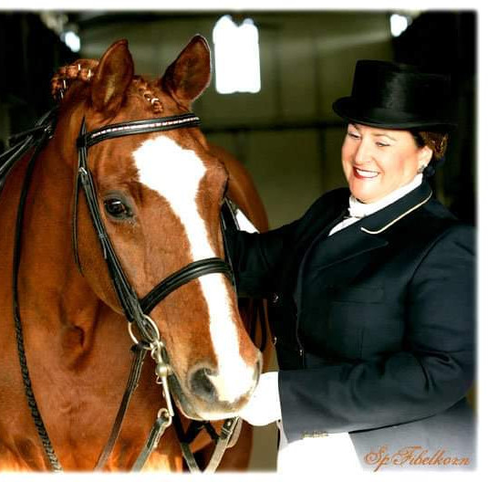 Susan Preparing With Bay Horse