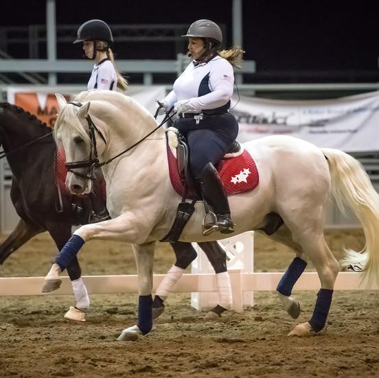 Susan Hosting Event On Champagne Horse