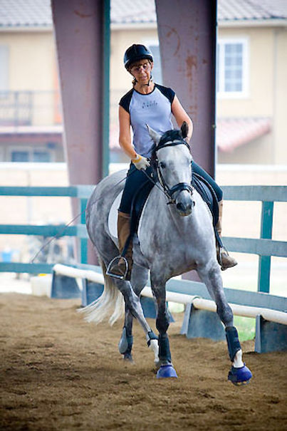 Barbara Riding Gray Horse Dolce