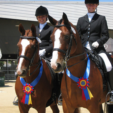 two women riding bay horses with ribbons around their necks at a dressage show