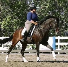 Susan Peacock riding a bay horse in a sand arena