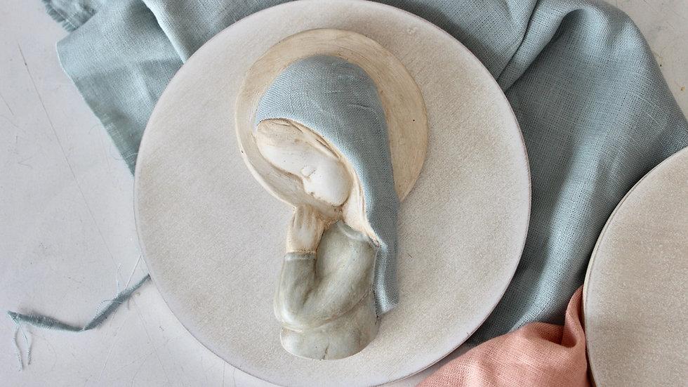 Virgen niña lino azul