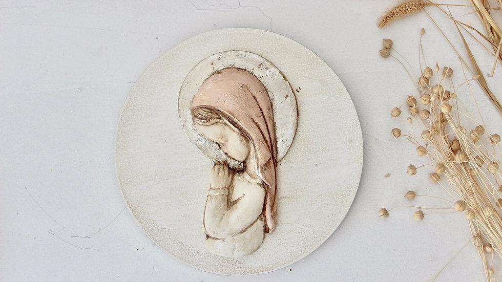 Virgen niña rosa y  pan de plata