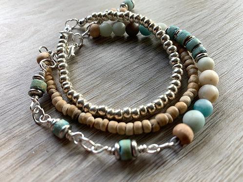 Amazonite  Gemstone , Coconut Shell and Silver Layered Bracelet