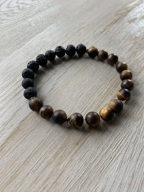 Precious Tigers Eye and Lava Rock Gemstone Bracelet