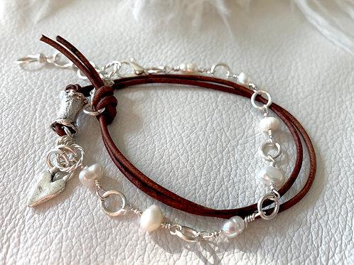 Boho Wrap Mother of Pearl Gemstone and Silver Handmade Silver Bracelet
