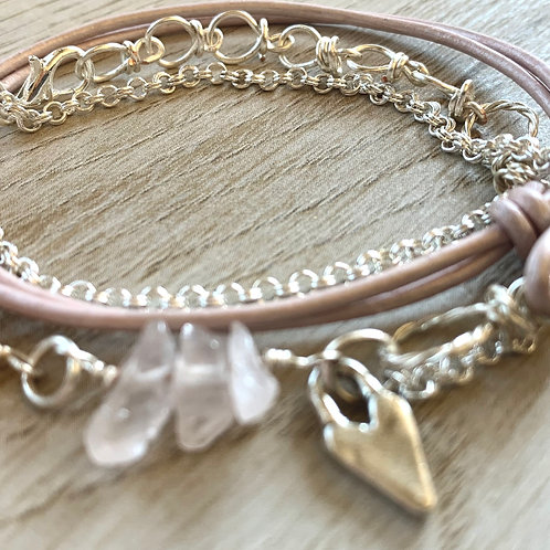 Rose Quartz Gemstone and Sterling Silver Handmade Silver Bracelet