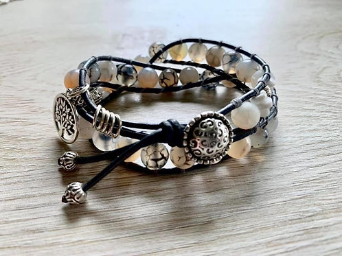 Precious Rutilated Agate Double Boho Wrap Bracelet