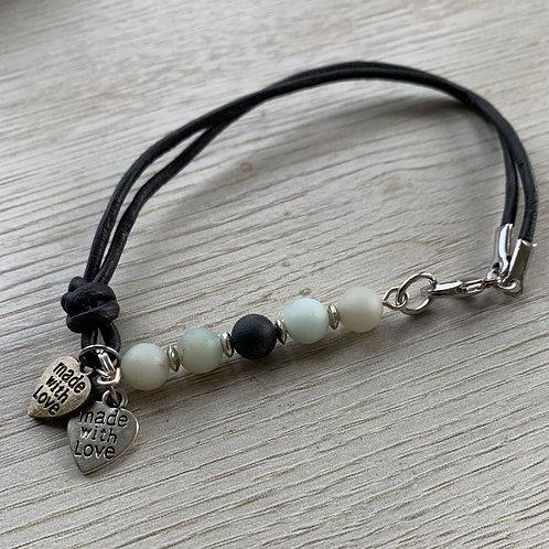 Precious Amazonite Gemstone with leather bracelet