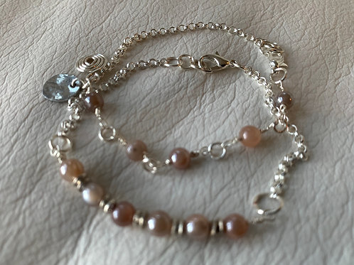 Precious Peach Moonstone Gemstone and Silver Handmade Stackable Bracelets