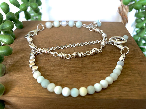 Precious Amazonite Gemstone and Silver Handmade Double Stackable Chain Bracelets